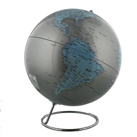 Silver Atlas Globe with Metal Base